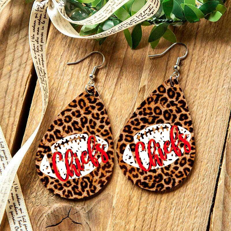 Football Kansas City Chiefs Leopard Earrings