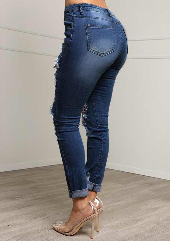 Leopard Patch Pocket Distressed Denim Jeans - Blue