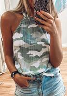 Camouflage Halter Casual Tank