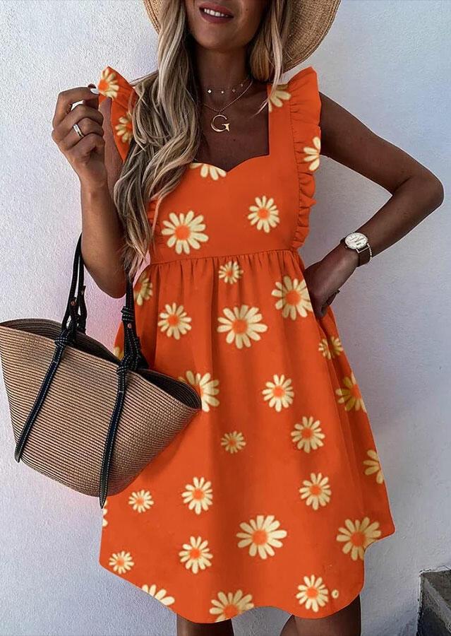 Daisy Ruffled Zipper Mini Dress - Orange, 493187, Fairyseason  - buy with discount