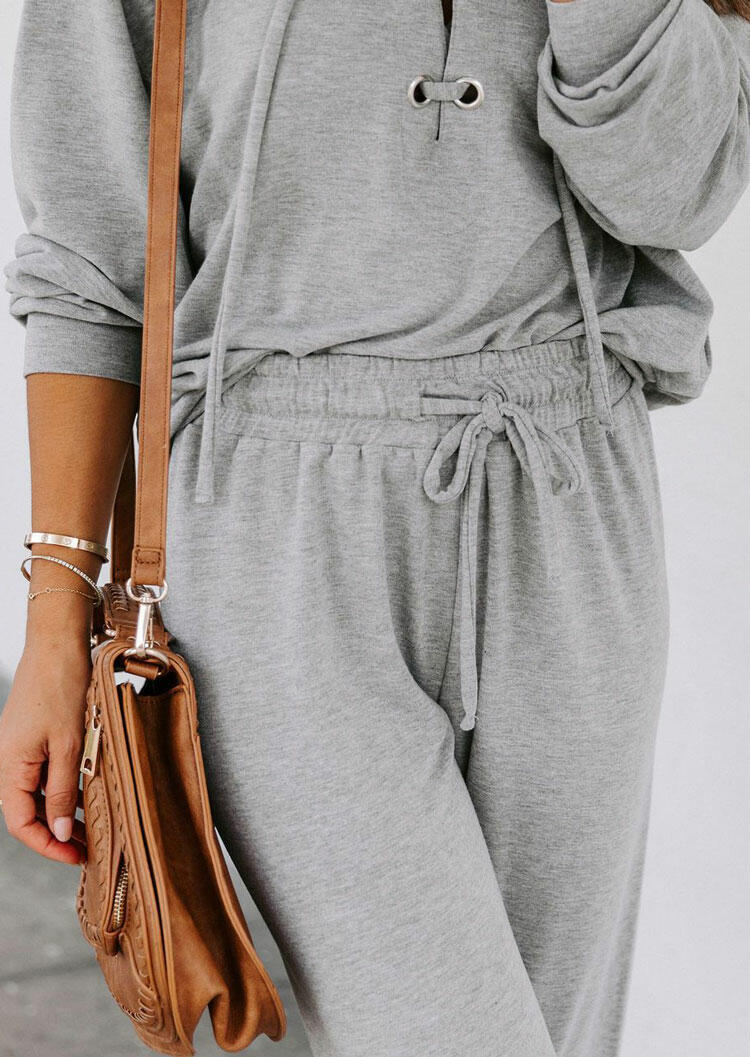 Lace Up Batwing Sleeve Hoodie And Drawstring Pants Pajamas Set