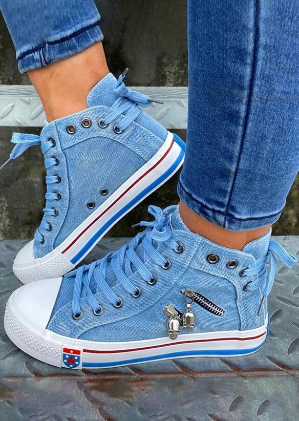Fairyseason / Zipper Lace Up Round Toe Flat Denim Sneakers - Blue