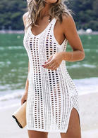 Hollow Out Slit Crochet Cover Up - White