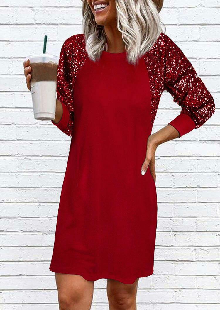 Sequined Splicing Raglan Sleeve Mini Dress - Red