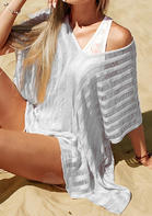 Hollow Out Tassel Drawstring Slit Cover Up - White