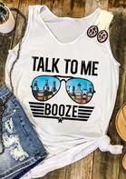 Talk To Me Booze Star Glasses Tank - White