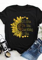 Sunflower It's Fine I'm Fine Everything Is Fine T-Shirt Tee - Black