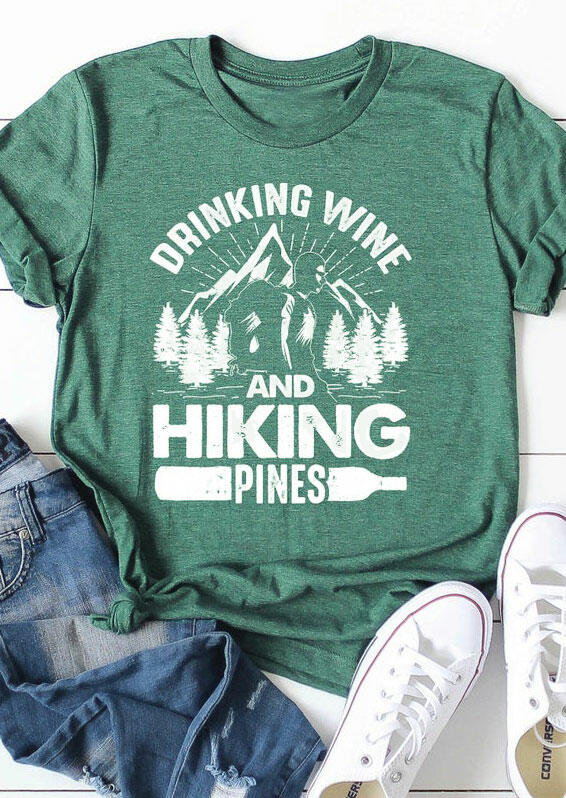 Drinking Wine And Hiking Pines Mountain T-Shirt Tee - Light Green