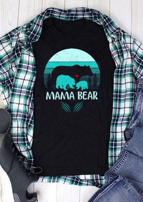 Mama Bear O-Neck T-Shirt Tee - Black