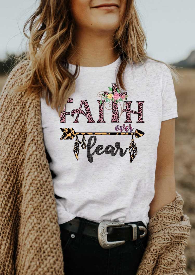 Faith Over Fear Leopard Arrow Floral Cross T-Shirt Tee - Light Grey