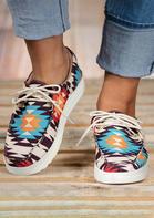Western Aztec Geometric Slip On Flat Sneakers