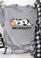 Mooooody Lazy Cow O-Neck T-Shirt Tee - Gray