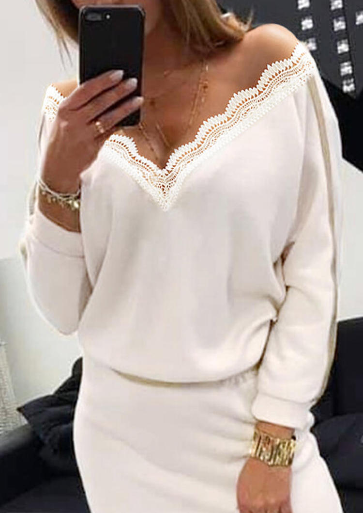 Lace Splicing V-Neck Long Sleeve Mini Dress - White