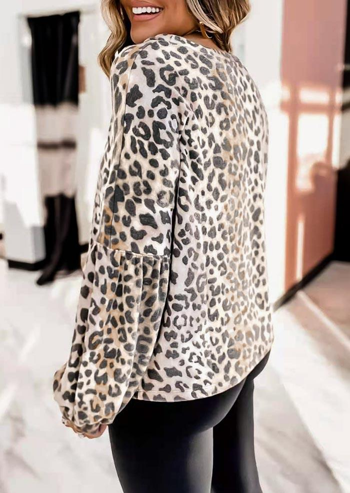 Leopard Ruffled Lantern Sleeve O-Neck Blouse