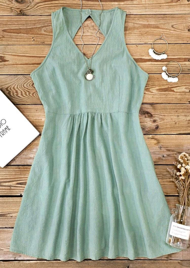 Open Back Ruffled Pocket Sleeveless Mini Dress - Light Green