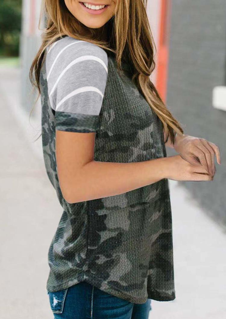 Camouflage Striped Splicing Waffle Raglan Sleeve Blouse