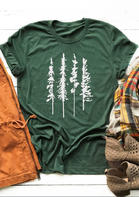 Pine Tree O-Neck Casual T-Shirt Tee - Green