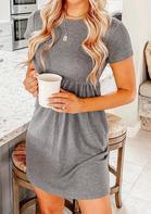 Ruffled Short Sleeve O-Neck Mini Dress - Gray