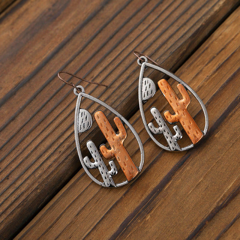 Western Hollow Out Cactus Water Drop Earrings - Silver