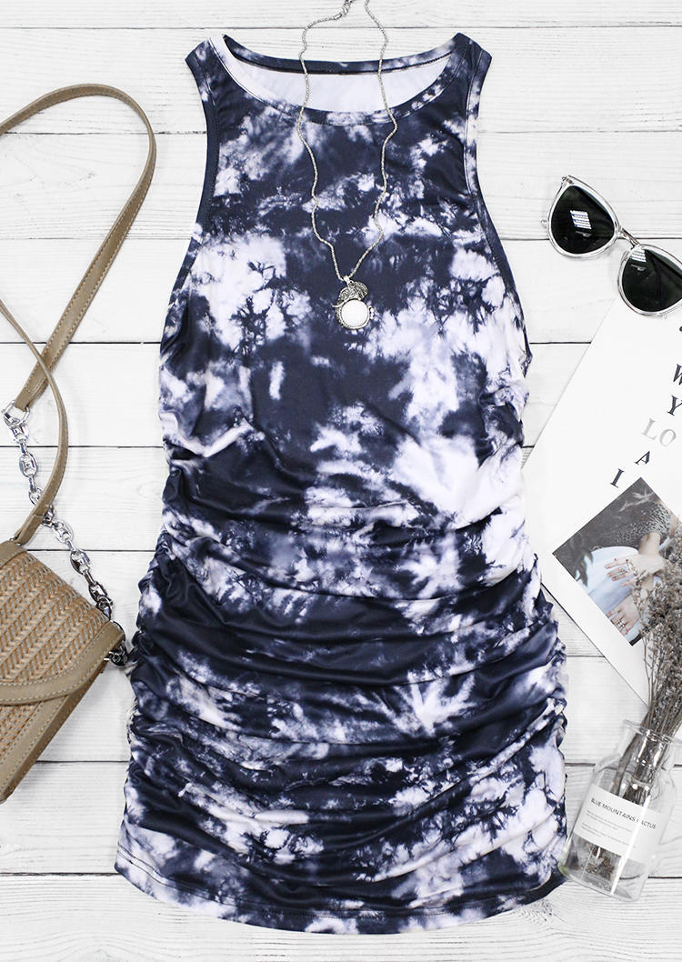 Tie Dye Ruched Sleeveless Bodycon Dress - Navy Blue