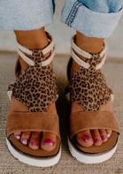 Leopard Zipper Wedged Heel Sandals