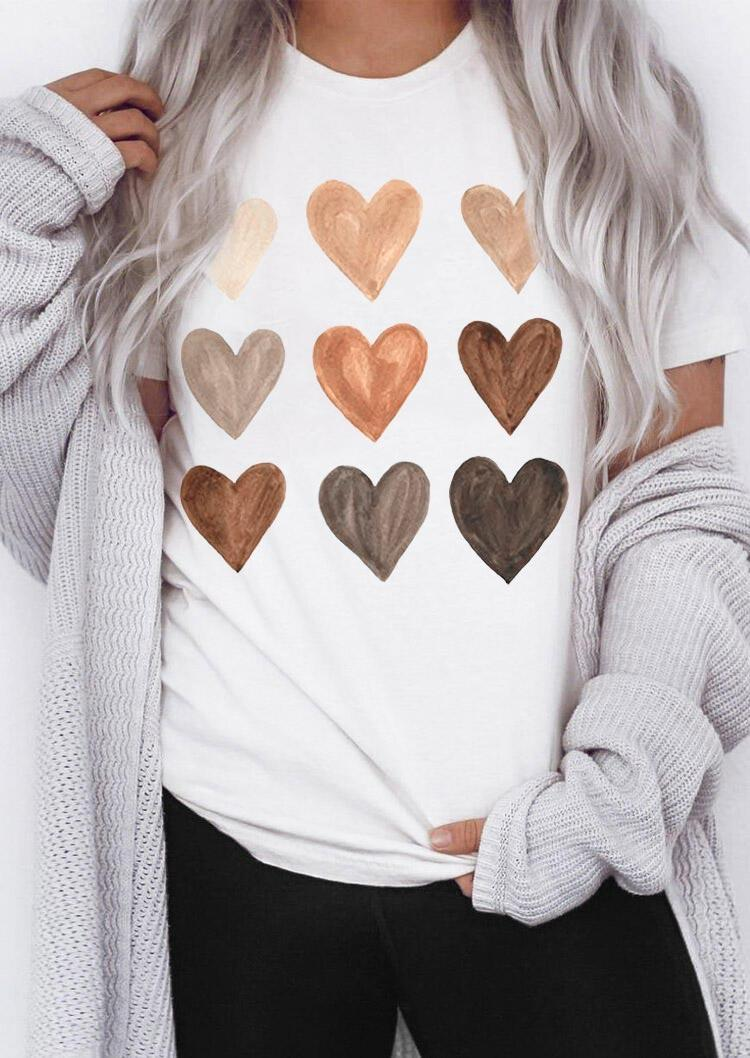 Be Kind Heart O-Neck T-Shirt Tee - White