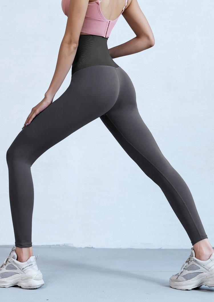 Adjustable Hip-Lifting High Waist Fitness Activewear Leggings - Gray