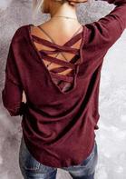 Criss-Cross Open Back Long Sleeve Blouse - Burgundy