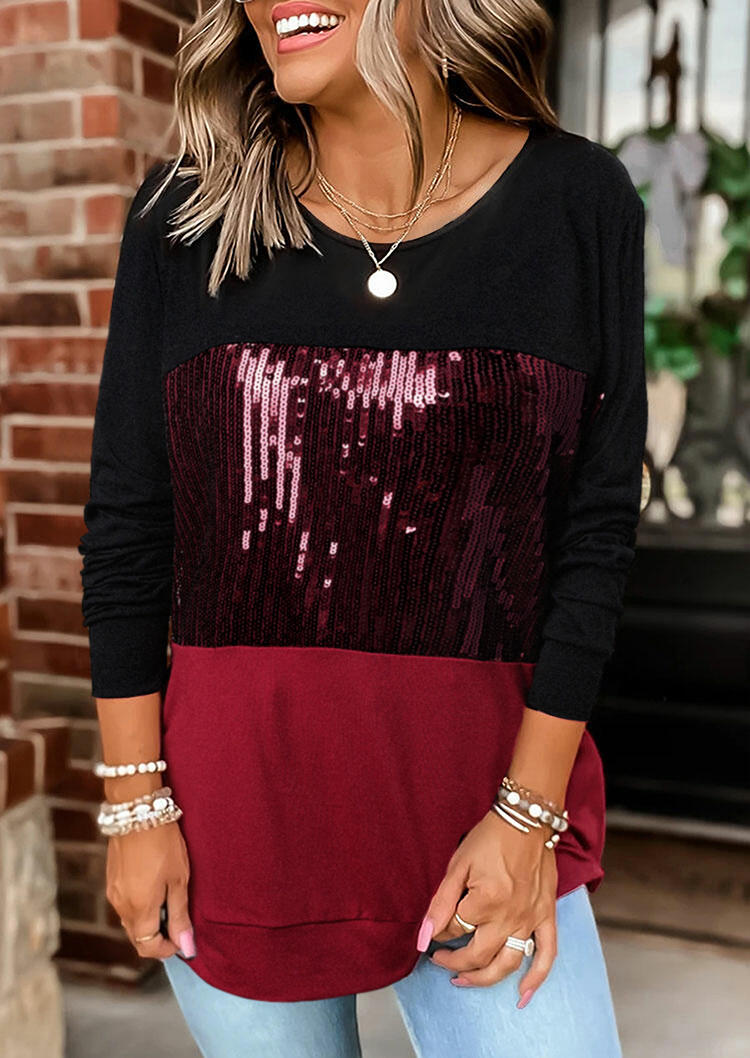 Sequined Color Block Long Sleeve Casual Blouse