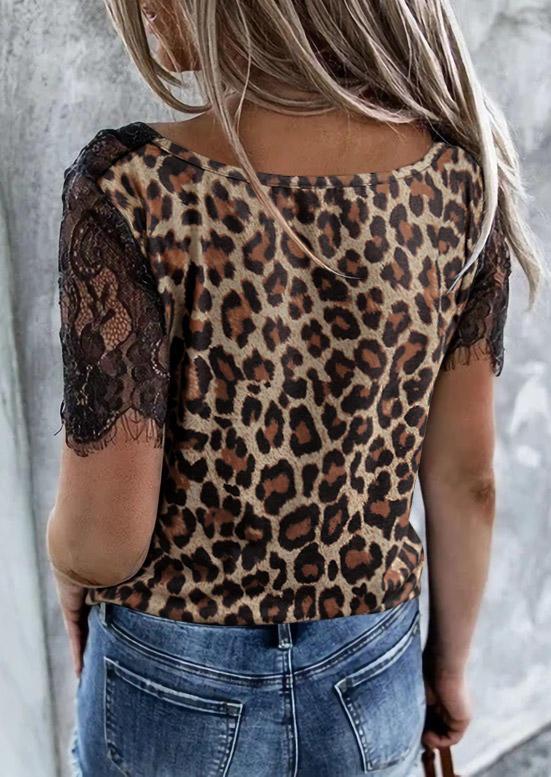 Lace Leopard Splicing Casual Blouse