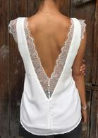 Lace Splicing Open Back Casual Tank - White