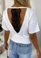 Lace Splicing Hollow Out Drop Shoulder Blouse - White