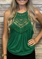 Hollow Out Lace Splicing Casual Tank - Green