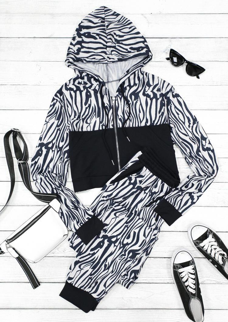 Zebra Splicing Pocket Hoodie And Pocket Pants Two-Piece Set