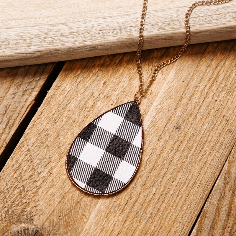 Plaid Water Drop Long Sweater Chain Necklace