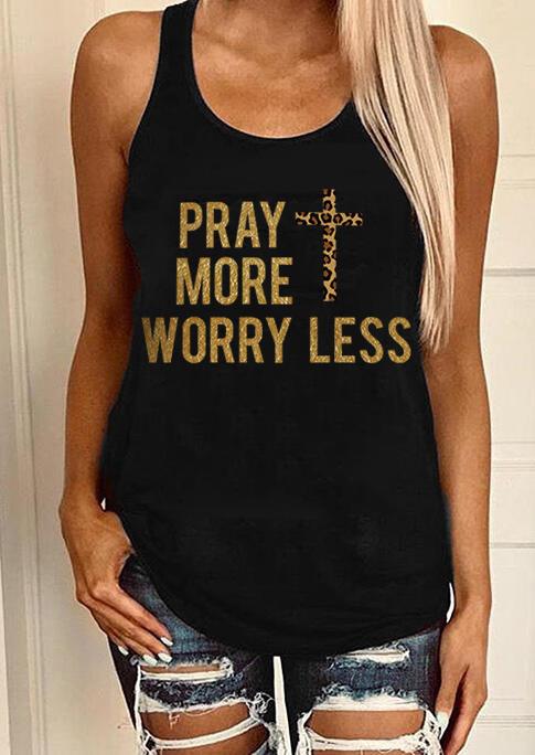 Pray More Worry Less Leopard Cross Tank - Black