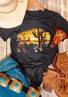 Buffalo Cactus O-Neck T-Shirt Tee - Dark Grey