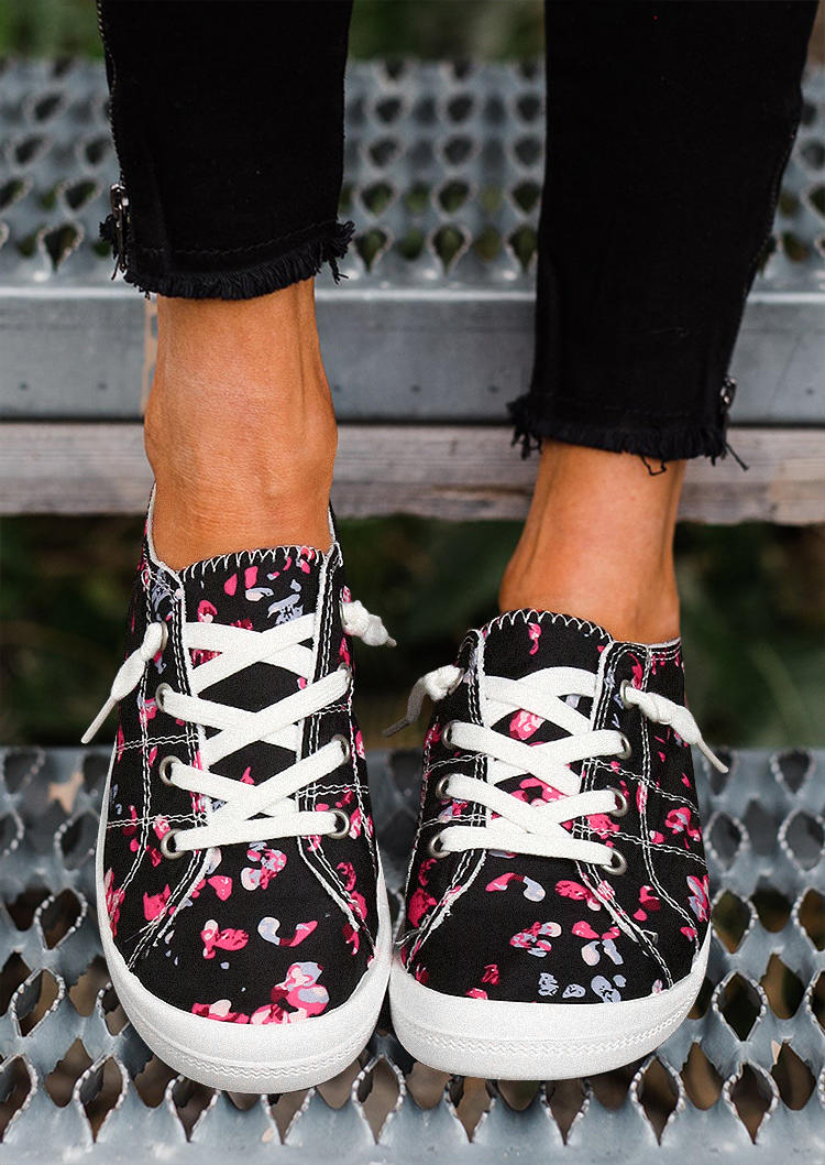 Fairyseason / Colorful Floral Lace Up Round Toe Flat Sneakers