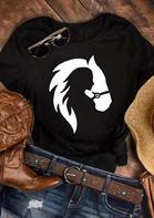 Woman Horse Lover Western O-Neck T-Shirt Tee - Black