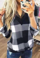 Plaid Lace Splicing V-Neck Long Sleeve Blouse