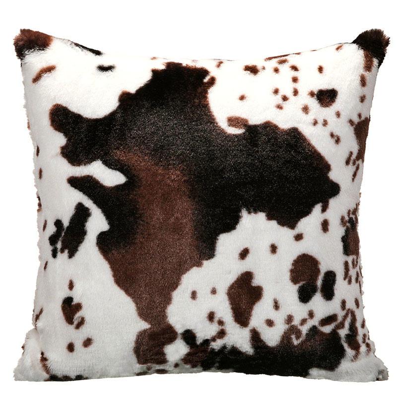Cow Warm Plush Pillowcase without Pillow - Coffee