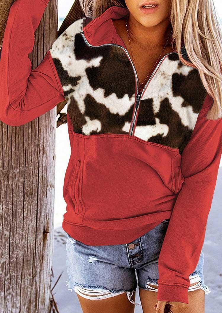 Cow Pocket Long Sleeve Zipper Collar Pullover Sweatshirt - Black