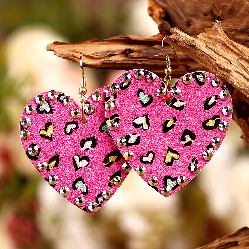 Leopard Heart Rhinestone Dual-Sided Earrings