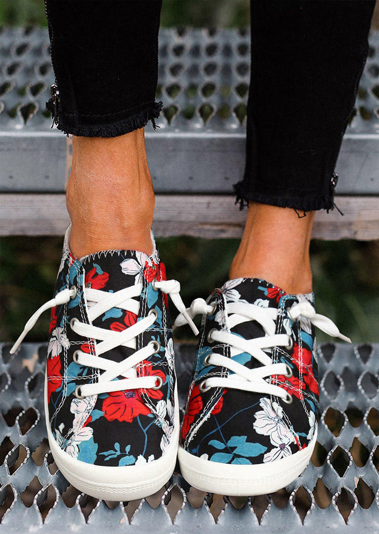 Floral Lace Up Flat Casual Sneakers