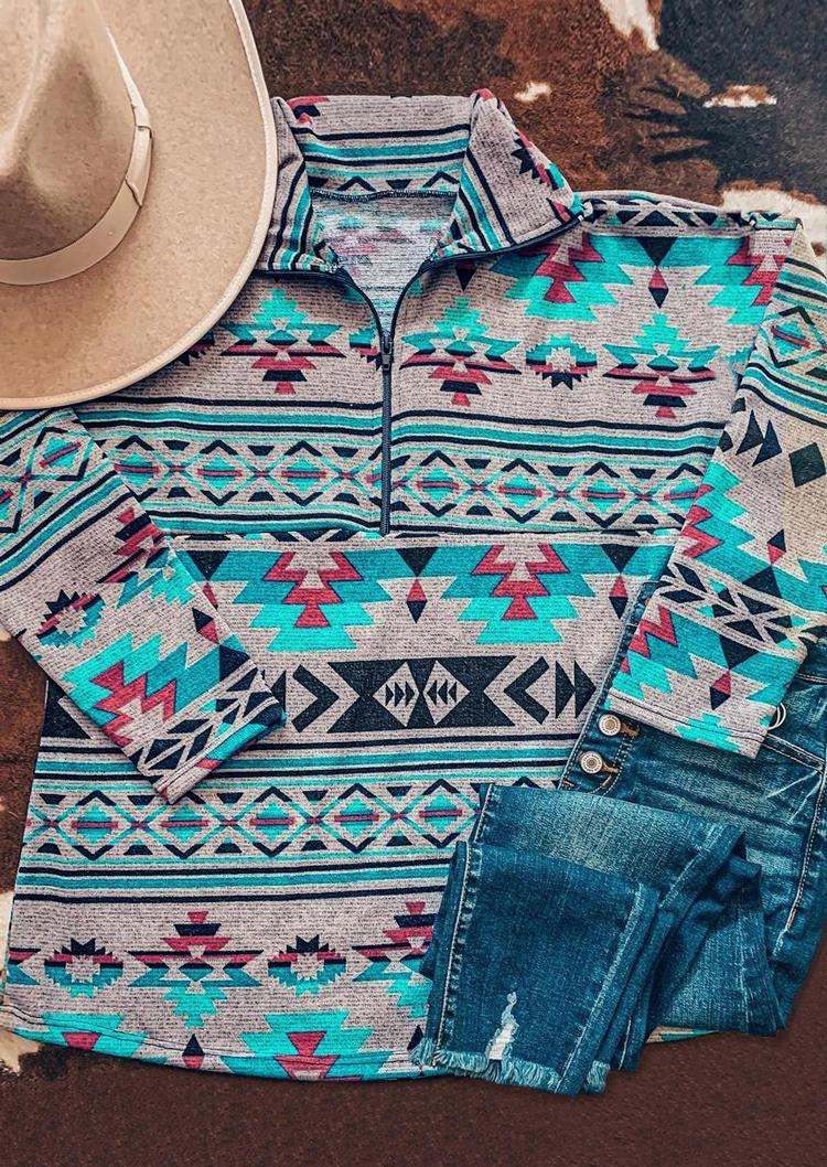 Sweatshirts Aztec Geometric Western Zipper Collar Pullover Sweatshirt in Multicolor. Size: M,L