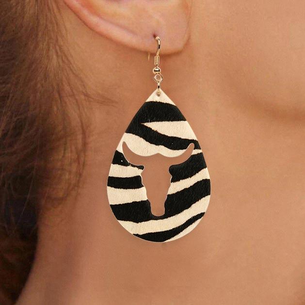 Leopard Zebra Hollow Out Water Drop Leather Earrings
