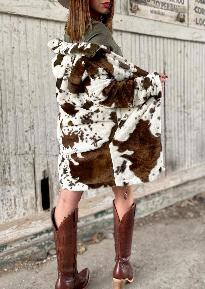 Western Cow Warm Plush Pocket Long Sleeve Coat - Coffee