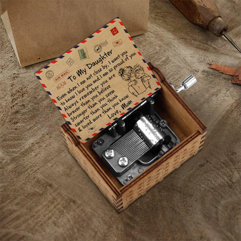 Mom To My Daughter Hand Crank Engraved Wooden Music Box