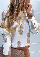 Pineapple Button Ruffled Long Sleeve Casual Blouse - White