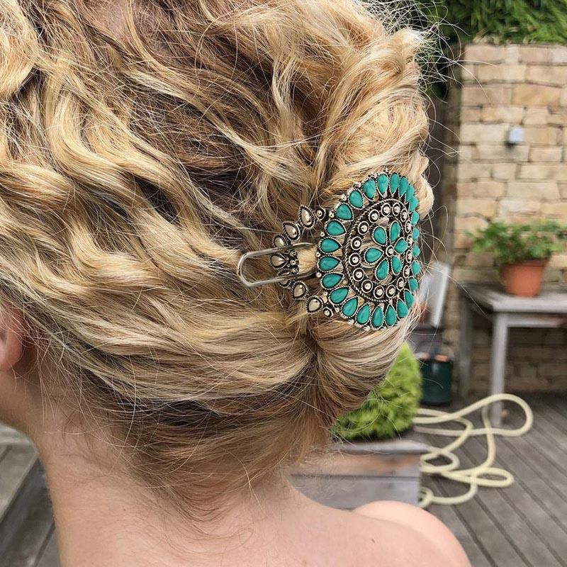 Vintage Hollow Out Turquoise Flower Hairpin